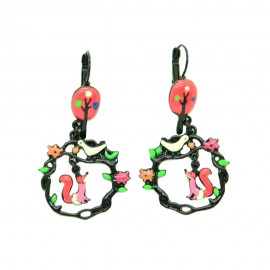 Boucles d'oreilles LOL Bijoux LOLILOTA Le corbeau et le renard BFLOL113-rouge