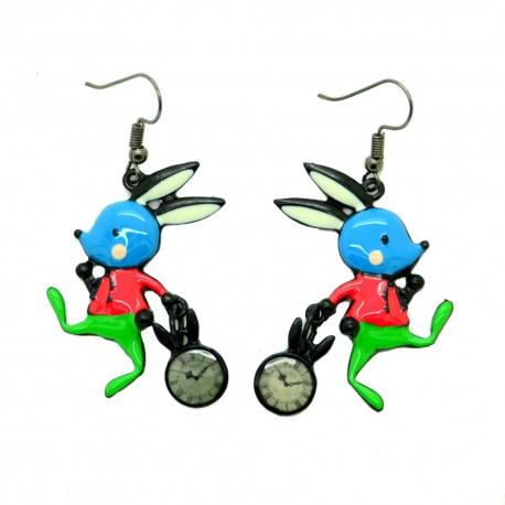 Boucles d'oreilles LOL Bijoux LOLILOTA le lapin et l'horloge BFLOL108-bleu