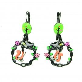 Boucles d'oreilles LOL Bijoux LOLILOTA Le corbeau et le renard BFLOL113-vert