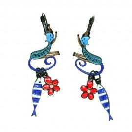 Boucles d'oreilles LOL Bijoux LOLILOTA Chat et sardine BFLOL115-bleu