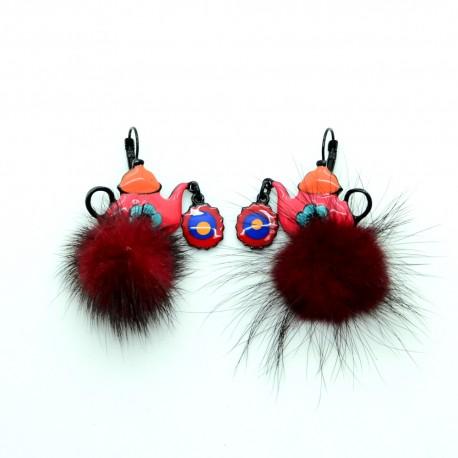 Boucles d'oreilles LOL Bijoux LOLILOTA La theiere rose et pompon bordeaux BFLOL088-rose
