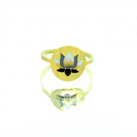 Bague Acier inoxydable réglable fleur de Lotus dorée Baac101-Doré