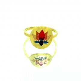 Bague Acier inoxydable réglable fleur de Lotus dorée Baac102-Dorée