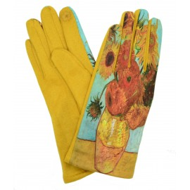 Gants femme hiver tactiles colorés polaire tableau peinture Van Gogh Les Tournesols