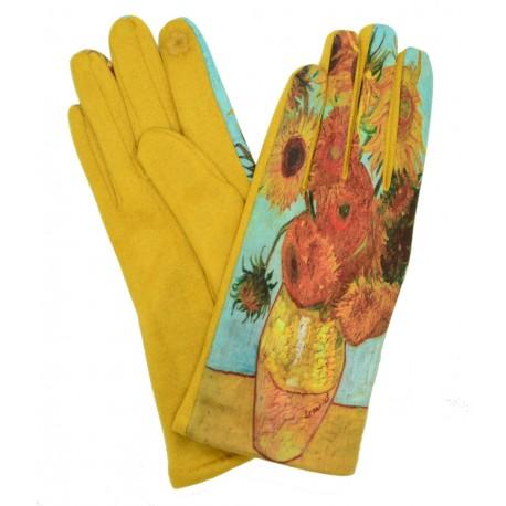 Gants femme hiver tactiles colorés polaire tableau Les Tournesols Van Gogh GFHP001