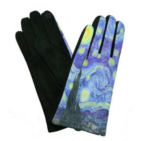 Gants polaire femme hiver chaud tactile colorés peintre Van Gogh La nuit étoilée GFHP002
