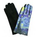 Gants polaire femme hiver chaud tactile colorés tableau peinture Van Gogh La nuit étoilée