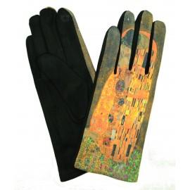 Gants polaire femme hiver chaud tactiles colorés tableau peinture Gustav Klimt Le Baiser