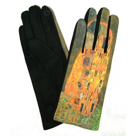 Gants polaire femme hiver chaud tactiles colorés tableau Gustav Klimt Le Baiser GFHP003