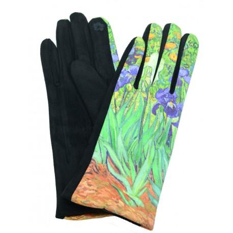 Gants polaire femme hiver chaud tactile colorés peintre Van Gogh Les Iris GFHP004