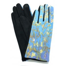 Gants polaire femme hiver chaud tactile colorés tableau peinture Van Gogh Amandier