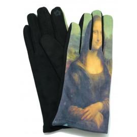 Gants polaire femme hiver chaud tactiles colorés tableau peinture de Vinci La Joconde