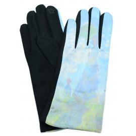Gants polaire femme hiver chaud tactiles colorés tableau peinture Monet femme ombrelle