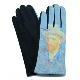 Gants femme hiver tactiles colorés polaire tableau peinture Autoportrait Van Gogh
