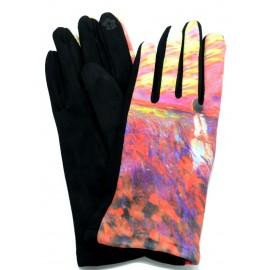 Gants femme hiver tactiles colorés polaire reproduction tableau La dame aux coquelicots
