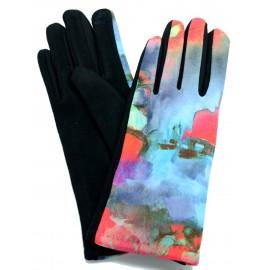 Gants femme hiver tactiles colorés polaire reproduction d'un tableau Abstrait