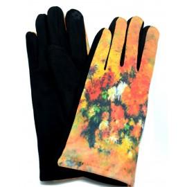 Gants femme hiver tactiles colorés polaire reproduction tableau Les oeillets