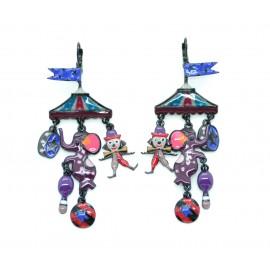 Boucles d'oreilles LOL Bijoux LOLILOTA Le Cirque éléphant clown BFLOL018-violet
