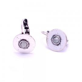Boucles d'oreilles émaillées Dormeuse Strass petites et légères BFDSC004-blanche