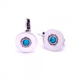 Boucles d'oreilles émaillées Dormeuse Strass petites et légères BFDSC004-bleu