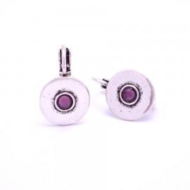 Boucles d'oreilles émaillées Dormeuse Strass petites et légères BFDSC004-violette