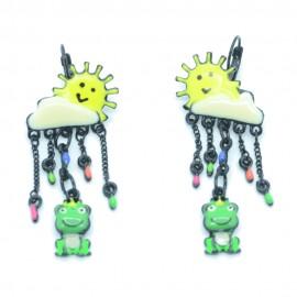 Boucles d'oreilles LOL Bijoux LOLILOTA Le soleil la pluie grenouille BFLOL117-jaune