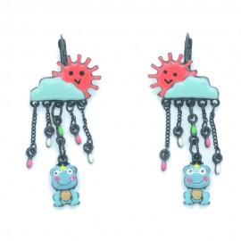 Boucles d'oreilles LOL Bijoux LOLILOTA Le soleil la pluie grenouille BFLOL117-rouge