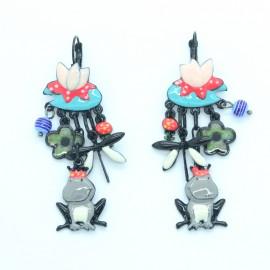 Boucles d'oreilles LOL Bijoux LOLILOTA Nénuphar Libéllule roi grenouille BFLOL118-Gris
