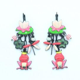Boucles d'oreilles LOL Bijoux LOLILOTA Nénuphar Libéllule roi grenouille BFLOL118-rouge