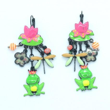 Boucles d'oreilles LOL Bijoux LOLILOTA Nénuphar Libéllule roi grenouille BFLOL118-vert