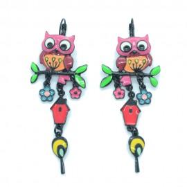 Boucles d'oreilles LOL Bijoux LOLILOTA Le hiboux sur la branche BFLOL120-rose
