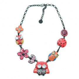 Collier LOL Bijoux LOLILOTA La chouette et le hiboux COLOL039-orange