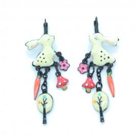 Boucles d'oreilles LOL Bijoux LOLILOTA Le Lapin carotte champignon BFLOL121-blanc