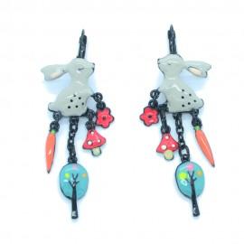 Boucles d'oreilles LOL Bijoux LOLILOTA Le Lapin carotte champignon BFLOL121-gris
