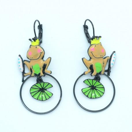 Boucles d'oreilles LOL Bijoux LOLILOTA Le roi grenouille nénuphar BFLOL125-marron