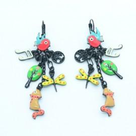 Boucles d'oreilles LOL Bijoux LOLILOTA L'oiseau et le renard BFLOL096-rouge