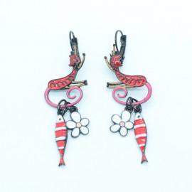 Boucles d'oreilles LOL Bijoux LOLILOTA Le chat et la sardine BFLOL115-Rouge