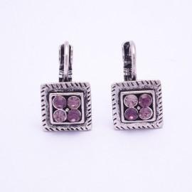Boucles d'oreilles émaillées Dormeuse Strass petites et légères BFDSC009-violette