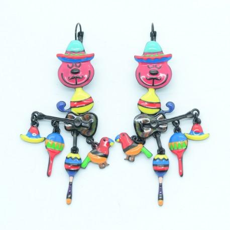 Boucles d'oreilles LOL Bijoux LOLILOTA Le chat mexicain et la guitare BFLOL127-fushia