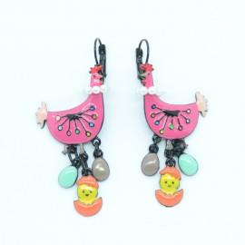 Boucles d'oreilles LOL Bijoux LOLILOTA La poule et le poussin BFLOL128-fushia