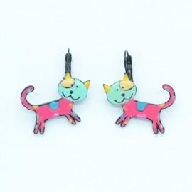 Boucles d'oreilles LOL Bijoux LOLILOTA Le chat multicolore BFLOL129-fushia