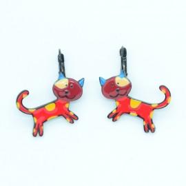 Boucles d'oreilles LOL Bijoux LOLILOTA Le chat multicolore BFLOL129-rouge