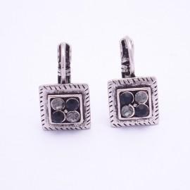 Boucles d'oreilles émaillées Dormeuse Strass petites et légères BFDSC009-noir