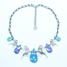 Collier LOL Bijoux LOLILOTA Les Oiseaux argentés COLOL054-bleu