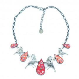 Collier LOL Bijoux LOLILOTA Les Oiseaux argentés COLOL054-rouge