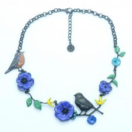 Collier LOL Bijoux LOLILOTA oiseau sur la branche fleurs COLOL057-bleu