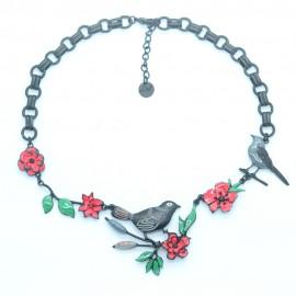 Collier LOL Bijoux LOLILOTA oiseau sur la branche fleurs COLOL058-Noir