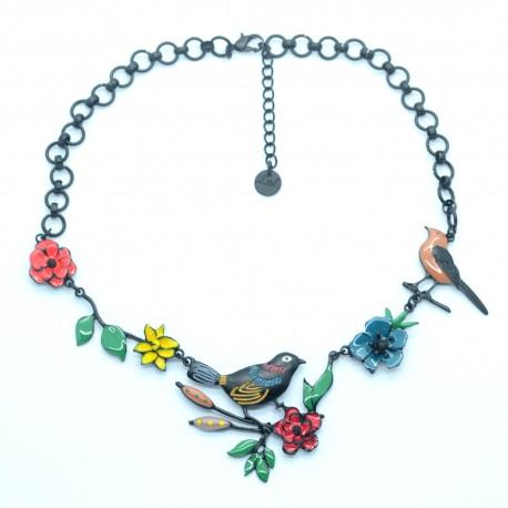 Collier LOL Bijoux LOLILOTA oiseau sur la branche fleurs COLOL058-Multi