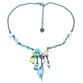 Collier LOL Bijoux LOLILOTA Les lapins le chat la nature COLOL061-bleu