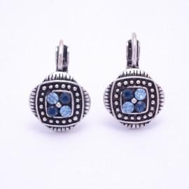 Boucles d'oreilles émaillées Dormeuse Strass petites et légères BFDSC010-bleu